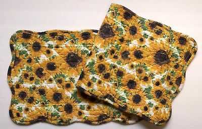 """New Primitive Country SUNFLOWER Yellow Green Reversible Quilted Table Runner 42"""""""
