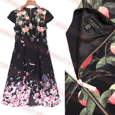 classic styles uk availability buy sale TED BAKER FREDICA Peach Blossom Wrap Midi Dress Black - $96.99 ...