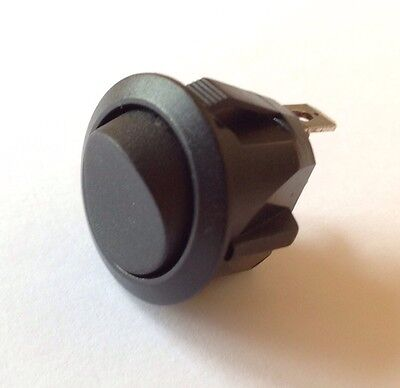 ROUND BLACK NYLON SPST ON/OFF MAINS ROCKER SWITCH, 10A 250VAC, 20mm HOLE
