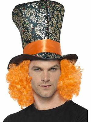 Mad Hatter Orange Hair Top Hat, Adult Fancy Dress Costume Accessory