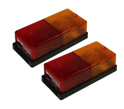 2 x REAR TRAILER LIGHT CARAVAN REAR RECTANGLE W/BULBS MAYPOLE MP10B