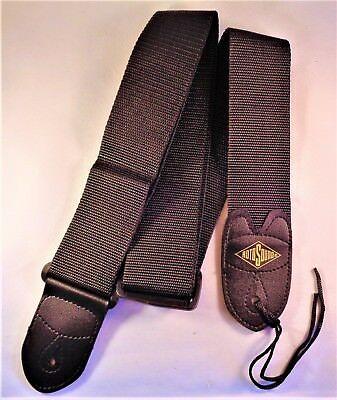 1RotoSound Guitar Strap with Leather Ends for Electric/Guitar/Bass (Black STR1).