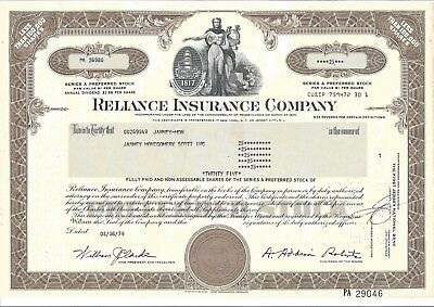 Reliance Insurance Company......1976 Preferred Stock Certificate