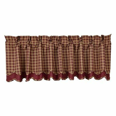 New Primitive Homespun Red Burgundy WINE TAN CHECKED Layered Curtain Valance