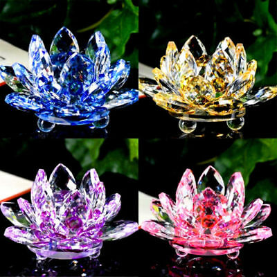 Colorful Rainbow Color Crystal Sparkle Crystal Lotus Flower Ornaments Home Decor