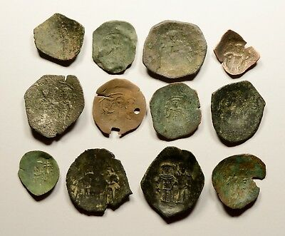 Lot Of 12 Ancient Byzantine Cup Coins For Identifying - 012