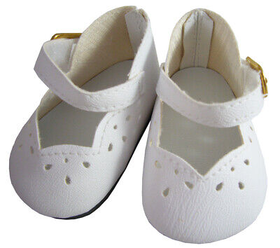 """White Dress Shoes Scallop Front made for 18"""" American Girl Doll Clothes"""