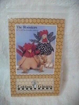 Craft Pattern THE ROOSTERS Cotton Ginnys Stuffed Roosters Pattern Uncut, Unused!