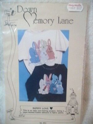 Down Memory Lane BUNNY LOVE Applied Bunnies Pattern Uncut Unused!