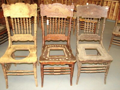 #63 - 2 Antique Pressed Back Chairs w/Lion Face & Spiral Spindles - Restoration