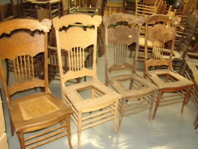 #66 - 4 Matching Antique Pressed Back Chairs w/Foral Press - Restoration - GREAT