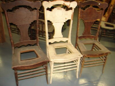 #65 - 3 Matching Antique Pressed Back Chairs w/Foral Press - Restoration - GREAT