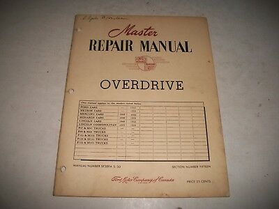 Master Repair Manual Overdrive Transmission 1949-1950 Ford Meteor Monarch
