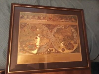 Cheap Vintage Retro Framed Gold Foil Blaeu Wall Map of Old and New World