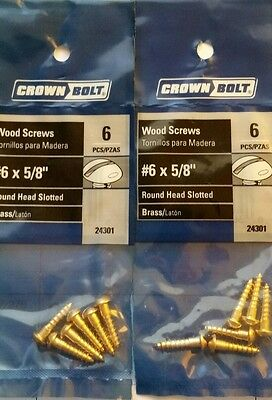 """#6 x 5/8"""" Slotted Round Head Solid Brass Wood Screw Qty 138"""