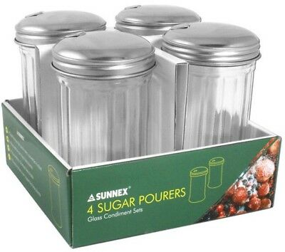 Sunnex Set of 4 Glass Sugar Pourers With Flip Stainless Steel Pouring Spout