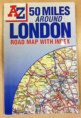 50 Miles Around London Road Map by Geographers' A-Z Map Company folded