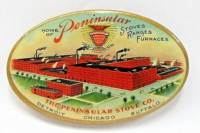 c. 1910 HOME OF PENINSULAR STOVES & RANGES & FURNACES celluloid pocket mirror *