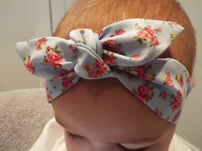 Blue And Pink Floral Headwrap Hair Wrap Headband Knot Bow Baby Toddler Girls New