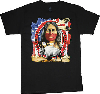 7ce73a45 Native American Indian t-shirt design buffalo decal tee US flag emblem  heritage