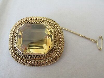 Superb Large Antique 15ct Gold and Citrine Brooch Valuation for $4,500