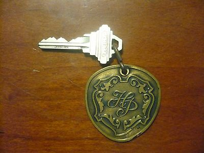 Vintage Hilton Plaza Miami Beach FL Bronze  #1203 Fob & Room Key Late 1960's 70s
