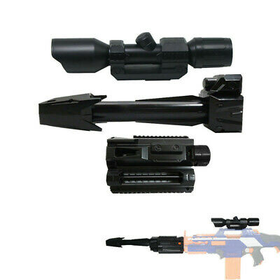 Tactical Front Barrel Tube Scope Sight Black Combo 3 Items for NERF Rapidstrike