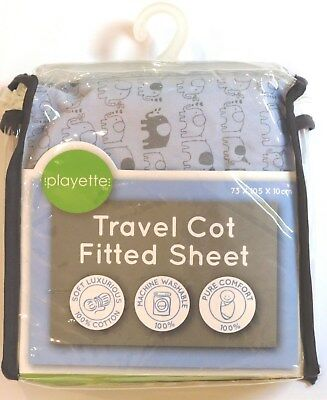 Playette - Travel Cot Fitted Sheet Print - Blue (Portacot)
