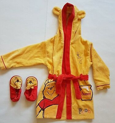 Disney Winnie the pooh yellow and red dressing gown with slippers 3-4 years 4e6655b65d6e