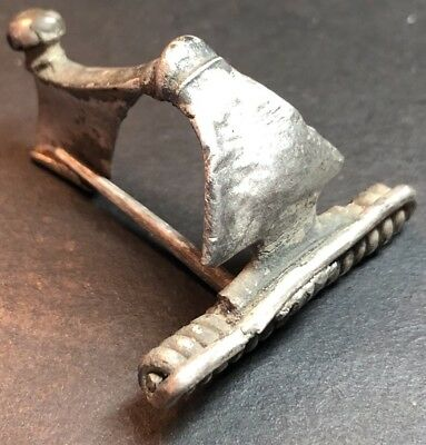 Silver Ancient Imperial Roman Fibula Brooch. Authentic 2nd Century Artefact