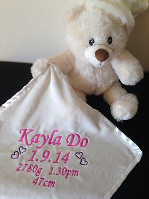 Personalised Baby Light up & Melody Teddy Bear with comforter Blanky Gift