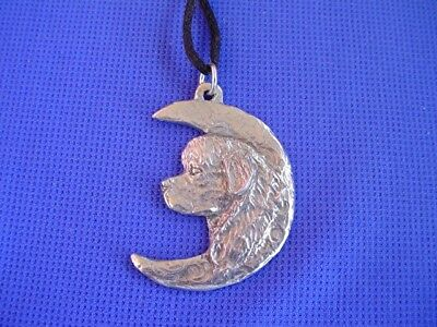 Newfoundland In the Moon necklace #96D Newfy Pewter Working Dog Jewelry CAC