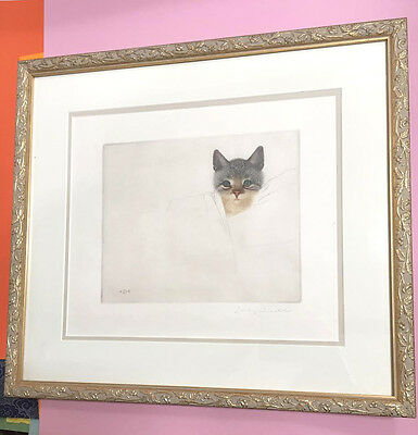 Gold framed VTG Antique lithograph drawing of the cutest kitten on earth!