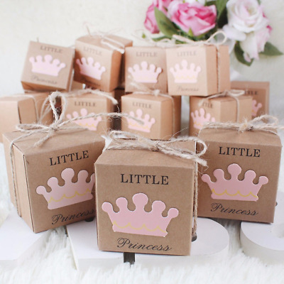 10Pcs Kraft Paper Baby Shower Gift Box Favor Candy Boxes Wedding Party Decor