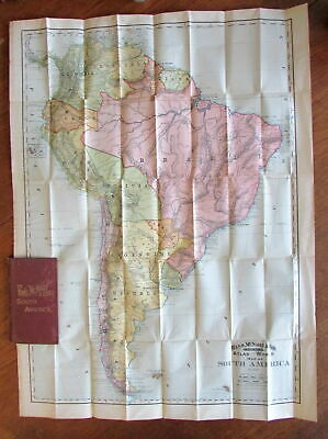 South American 1892 folding pocket map cloth gilt case scarce Rand McNally