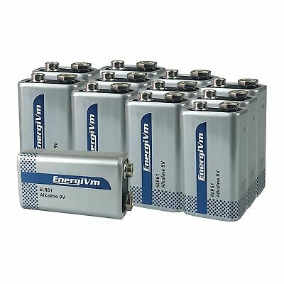 12 x EnergiVM 9V Alkaline Batteries - 6LR61 MN1604 6AM6 - Mega 12 Pack