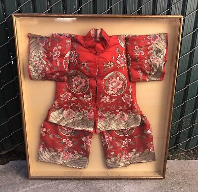 Rare Antique Chinese Childs Red Winter Robe Silver Embroidery Art