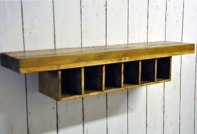 French Oak 6 Bottle Wooden Wine Rack Wall Mounted Bar Display Storage Holder