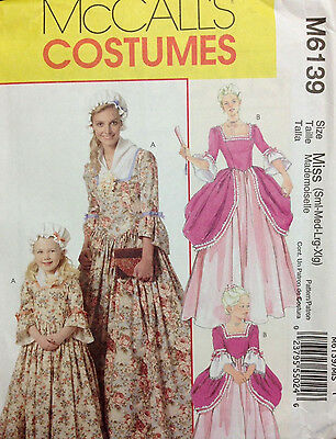 MCCALLS SEWING PATTERN Costume 6139 American Colonial Misses S, M, L ...