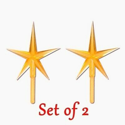 "2 Piece Package Gold Star Pegs For Vintage Ceramic Christmas Tree Top 4"" New"