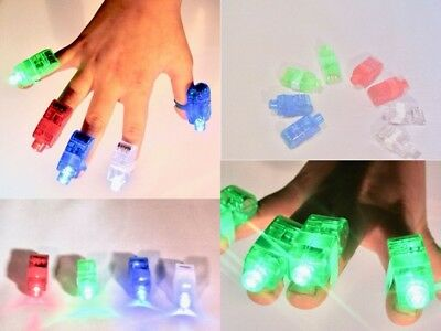 5 x Finger Lights Party Bag Laser Glow Ring Light Disco LED Torch Batteries inc.