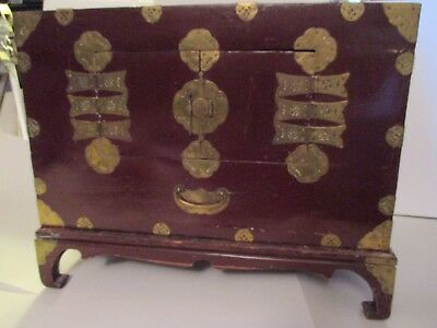 "Chinese Wood Wine color Lacquer Chest Box Handmade Brass Fittings 30"" w Stand"
