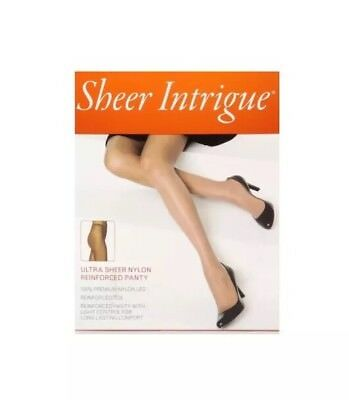 "1937c7c0b Sheer Intrigue Pantyhose COFFEE ""B"" Ultra Sheer Nylon Reinforced Panty Italy"