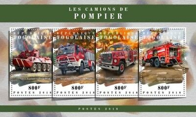 Togo - 2018 Fire Engines on Stamps - 4 Stamp Sheet - TG18105a