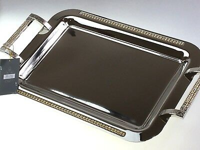 Stainless Steel Serving Tray Rectangular With Diamonte Milano Collection