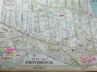 Providence Rhode Island Allen Print Works Hope Reservoir 1895 huge scarce map