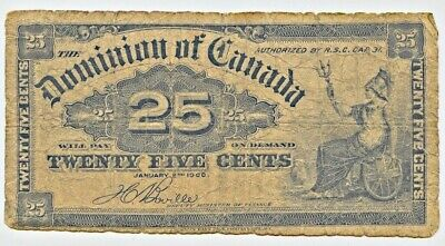1900 Canada 25 Cent Fractional issue Note