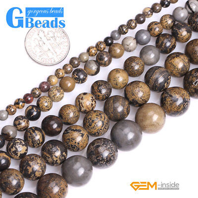 "Natural Brown Artistic Jasper Stone Round Beads for Jewelry Making 15"" Free Ship"