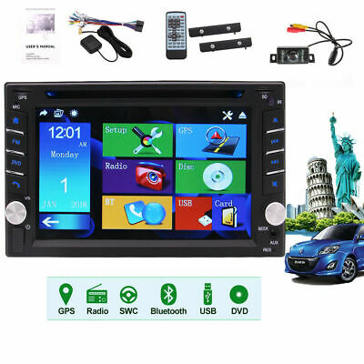 GPS Navigation 2Din Car Stereo DVD Player Bluetooth Radio iPod In Dash+Camera