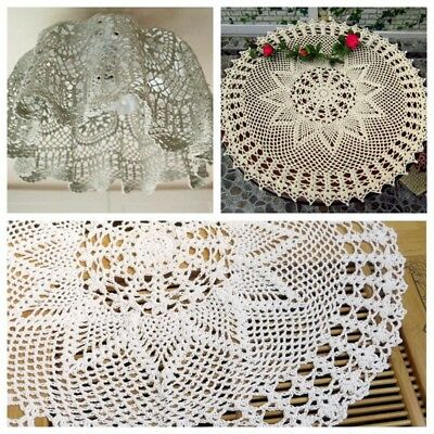60cm White Cotton Round Hand Crochet Doily Lace Doilies Floral Mat Tablecloth